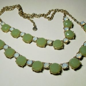 Loft Green rhinestone necklace, double strand